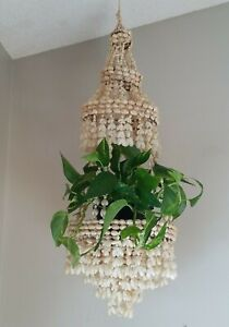 Vintage Sea Shell Cowrie Tiered Hanging Plant Holder Macrame 34 in Hanger Boho