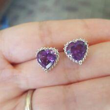 925 Genuine Sterling Silver Amethyst Heart Brilliant Studs Earrings Wedding