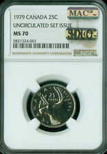 1979 CANADA  25 CENTS NGC MS-70 MAC SOLO FINEST GRADED RARE MAC SPOTLESS .