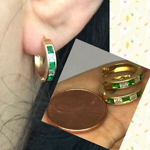 GOLD Huggie hoop Earring simulated Emerald Diamond green 14k solid real 15mm