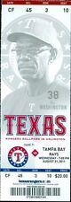 2011 Rangers vs Rays Ticket: James Shields win & 1,000 strikeout/Johnny Damon HR