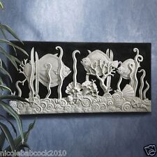 ART DECO MASTERPIECE BAS-RELIEF ASYMMETRICAL AQUARIUM FISH & SHELLWALL SCULPTURE