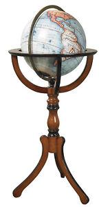 "Large Library Floor Globe on Wood Stand 38"" Vaugondy World Nautical Office Decor"