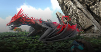 ARK SURVIVAL EVOLVED XBOX ONE PVE Level 190 Red & Black Ice Wyvern CLONE