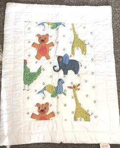 NEW Vintage Dacron Animal Baby Quilt Elephant Giraffe Bear Chicken NOS