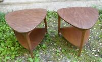 PAIR OF MID CENTURY MODERN GUITAR PICK END TABLES BY MERSMAN