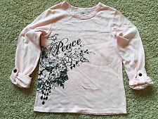 NWT Girls Pink Long Sleeve Bobbie Brooks Peace Top Small 6/6X