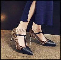 Chic Womens Pointy Toe Leopard T-Strap Pumps Stiletto Heels Mary Jane Shoes SIZE