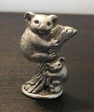 Old Pewter Made in Australia Mom & Baby Koala Bears