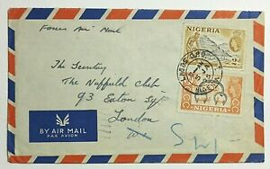 1956 Nigeria Airmail to The Nuffield Club Eaton Square London England Cover