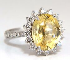 GIA Certified 10.40ct Natural No Heat Yellow Sapphire diamonds ring 18kt Canary