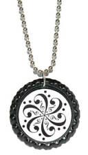 Black & White Music Swirl Bottle Cap Necklace (CAP004a)