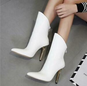 Elegant Womens Pointy Toes Mid Calf Boots Sexy High Heels Stllettos Shoes Prom