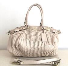 Authentic COACH Madison Gathered Leather Lindsey Convertible Beige Handbag $595