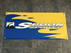 Spoon Sports graphic banner sign shop garage JDM Honda racing tuning all motor