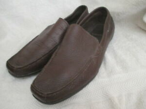 LACOSTE MENS BROWN LEATHER SLIP ON SHOES, SIZE 10 D