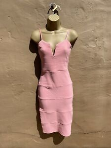 Ladies Summer Dresses Pink Size 12 Fitted Body Con Sexy Wedding Prom Party 👗