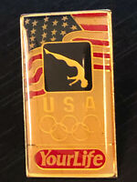 Vintage Collectible Olympic USA Your Life Colorful Metal Pin Back Lapel Pin