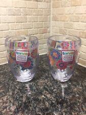 TERVIS Stemless Wine Glass ~ Floral Design Wrap ~ 9 oz ~ Set Of 2