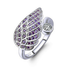 Lovely Women Banquet Gift Angle Wing Silver Couple Ring Amethyst Gems Jewelry
