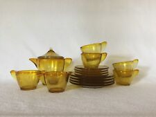 Akro Agate Children's 16 Piece Tea Set Large Stippled Band Amber Topaz Free Ship