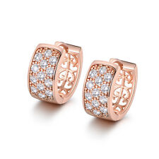 Rose Gold Filled Huggies Wide Pave Diamond Crystal Women Banquet Party Earrings