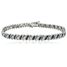 925 Silver Blue Diamond Accent San Marco Bracelet