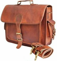 Mens Genuine Leather Vintage Laptop Shoulder Briefcase Messenger Bag Satchel 15""