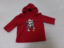 Designer TEA COLLECTION Boys Red Robot Cotton Comfy Hoodie Shirt Size 3-6M 3M