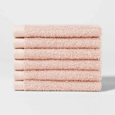 * 6pk Solid Washcloth Set Peach - Room Essentials