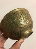 Vase Ancien Bol Coupe Inde Turquie Arabe Art Islamique Bronze Arabic