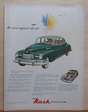 1948 magazine ad for Nash - We Even Engineer The Air, green Nash, Weather Eye