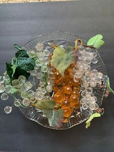 Lot Of 7 Vintage Clusters Of Multi-faceted Lucite Grapes with Cut Crystal Bowl