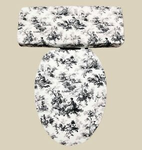 French Country Edwardian Black Toile Bathroom Decor Toilet Seat Lid Cover Set