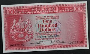 RARE 1972 Hong Kong & Shanghai Banking Corp $100 Banknote P185a UNC