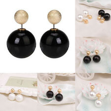 Fashion Jewelry Black White Gold Double Sided Pearl Earings Ball Ear Studs Nice