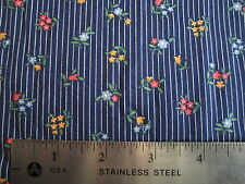 Wamsutta Dr Blue Pink Blue Floral Stripe Fat Quarter 100% Cotton Prewashed