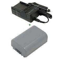 Battery + Charger for SONY NP-FP50 DCR-HC19E DCR-DVD202E DCR-HC42 NPFP50 DCR-DVD