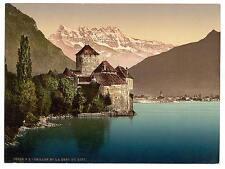 Chillon Castle And Dent Du Midi Ii Geneva Lake A4 Photo Print