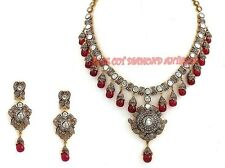 NEW AMAZING LOOK ANTIQUE ROSE CUT DIAMOND 10.30ct POLKI SILVER RUBY NECKLACE SET