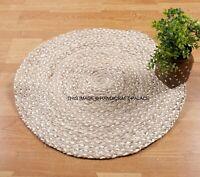 RUG ROUND NATURAL Circle Silver colour Jute Floor mat Carpet Organic Reversible