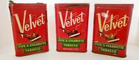 VINTAGE VELVET PIPE AND CIGARETTE SMOKING TOBACCO TIN Lot Of 3 empty