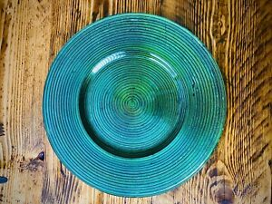Set Of 4 Turquoise Gass Charger Plates