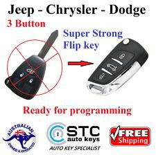 Jeep Chrysler Dodge Super Strong Complete Remote Transponder Flip key - 3 Button