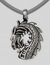 "DRAGON HEAD PEWTER 1-3/8"" tall Pendant Necklace ~ with Black Velveteen Choker"