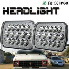 """7x6"" 45w CREE LED Headlights Crystal Clear H4 HID Light Bulbs White IP68 Pair"