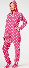 $59 JENNI NEW Pretty In Pink Polka Dot Hooded Footed Pajamas XS or XL LAST ONES