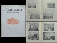 L'ARCHITECTURE 1933 SALONS, MOBILIER, ART DECO, ROLLIN, OUDIN, RUHLMANN, SUBES