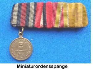4er Miniatur-Ordensspange Baden mit militärischer Karl-Friedrich Verdienstmed.