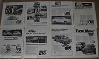 1964-68 FIAT advertisements x8, from British magazine, Fiat 124, 500, 850, 1100